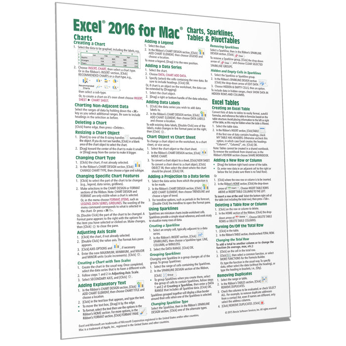 Excel 2016 for Mac Charts, Tables, PivotTables Quick Ref