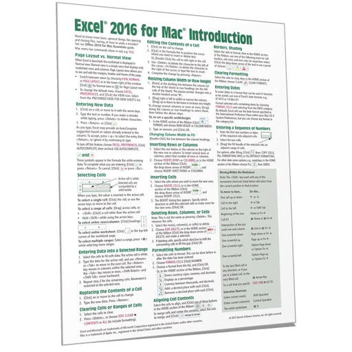 Excel 2016 for Mac Introduction Quick Reference