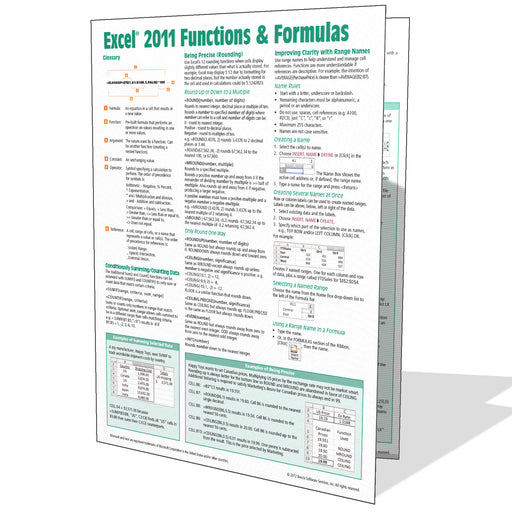 Excel 2011 for Mac Functions & Formulas Quick Reference