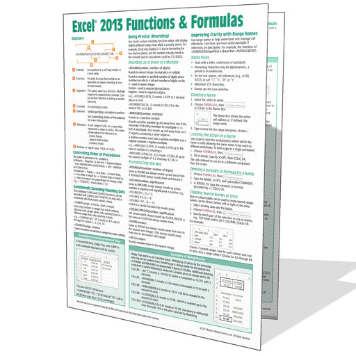 Excel 2013 Functions & Formulas Quick Reference