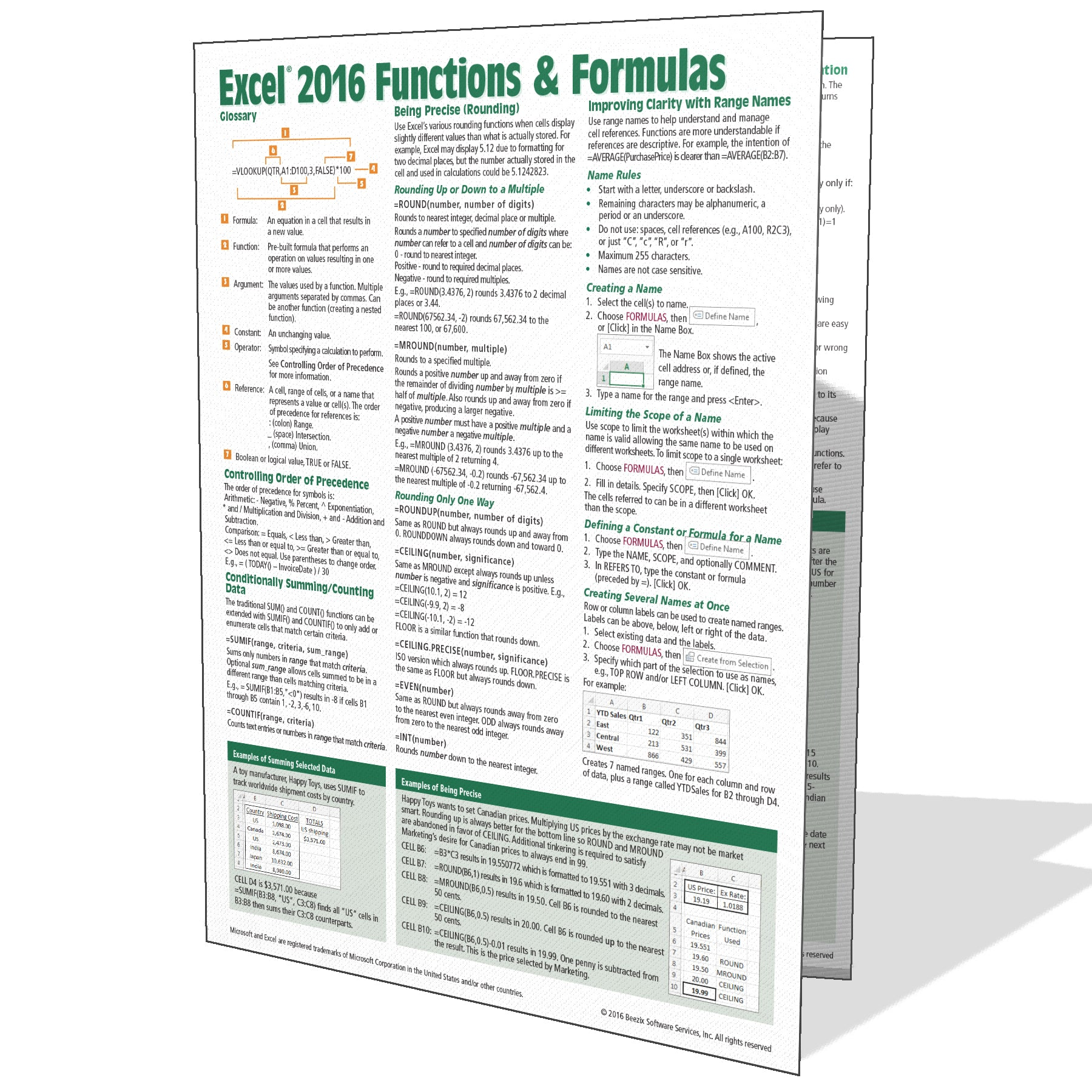 Excel 20 Functions & Formulas Quick Reference