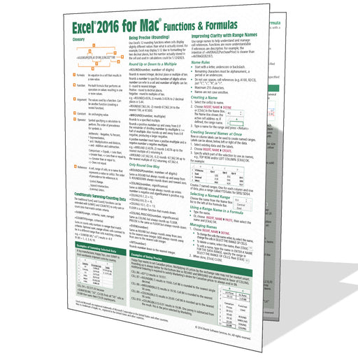 Excel 2016 for Mac Functions & Formulas Quick Reference
