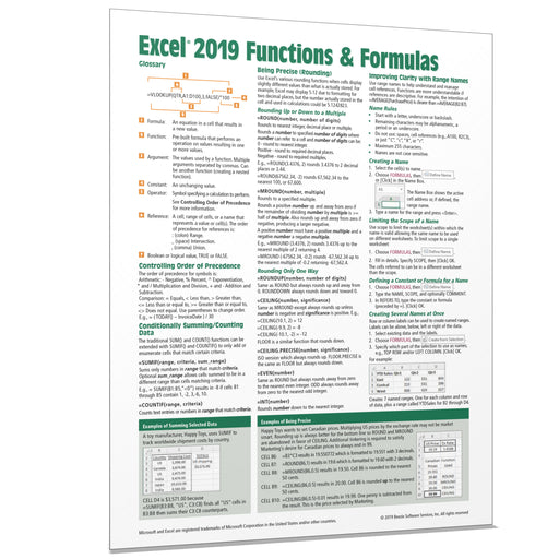 Excel 2019 Functions & Formulas Quick Reference