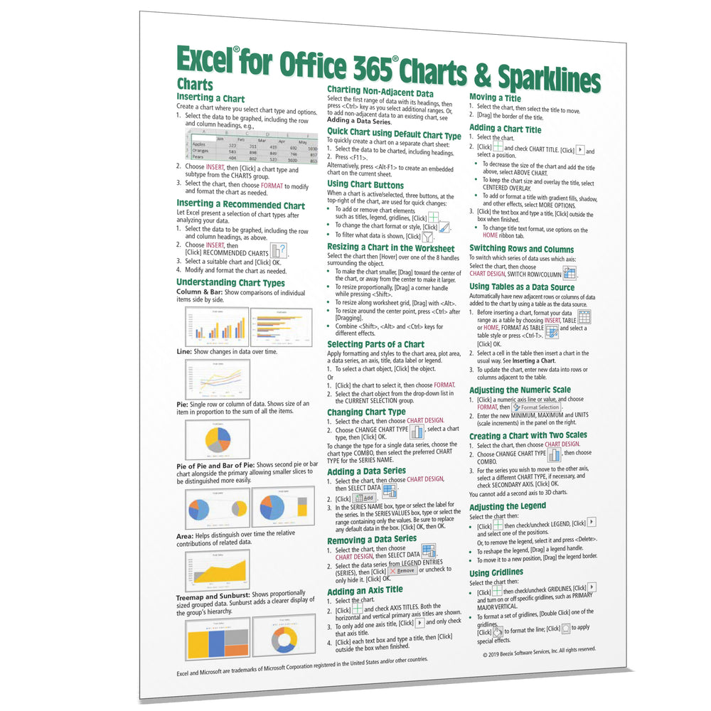 Excel for Office 365 Charts & Sparklines Quick Reference