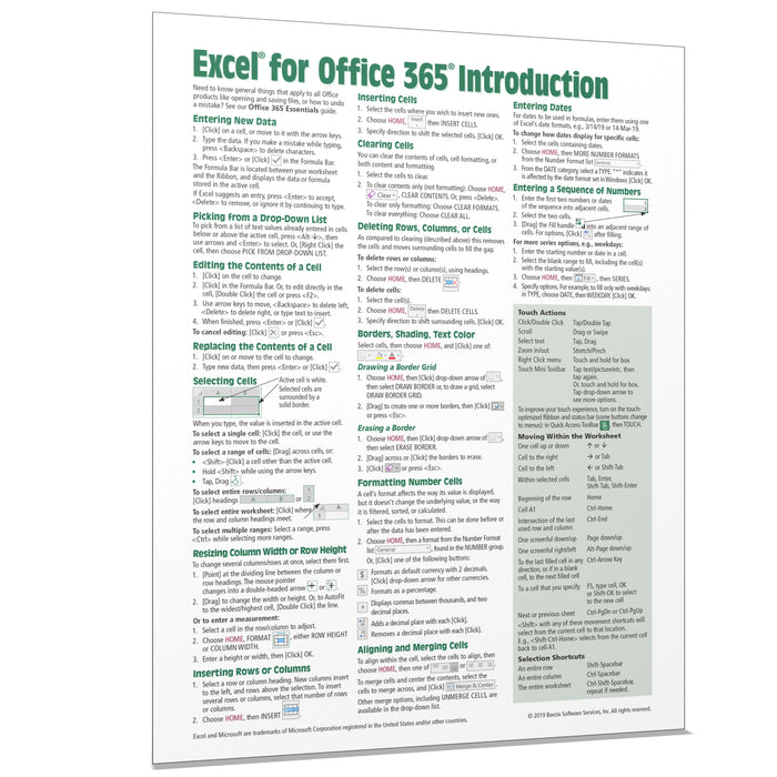 Excel for Office 365 Introduction Quick Reference