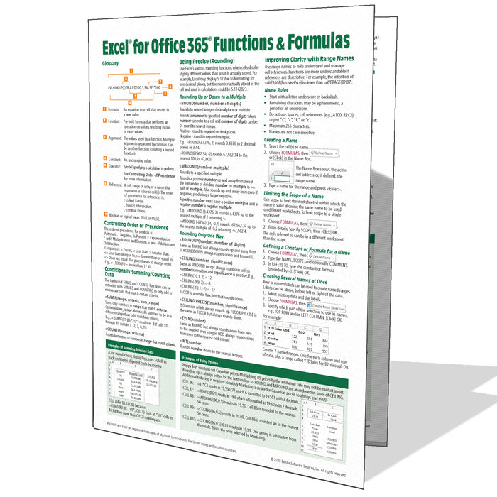 Excel for Office 365 Functions & Formulas Quick Reference