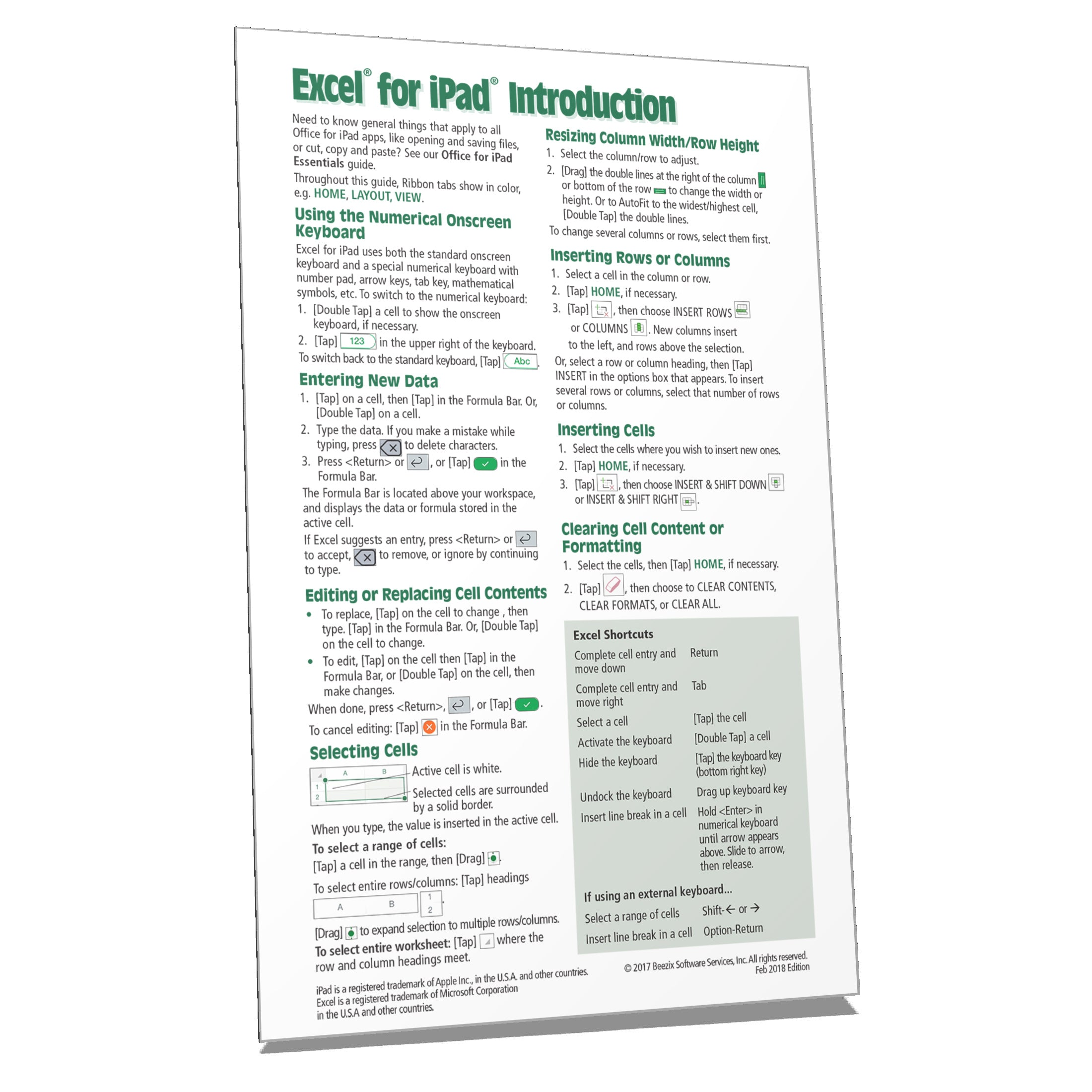 Excel for iPad Quick Reference Training Guide Cheat Sheet