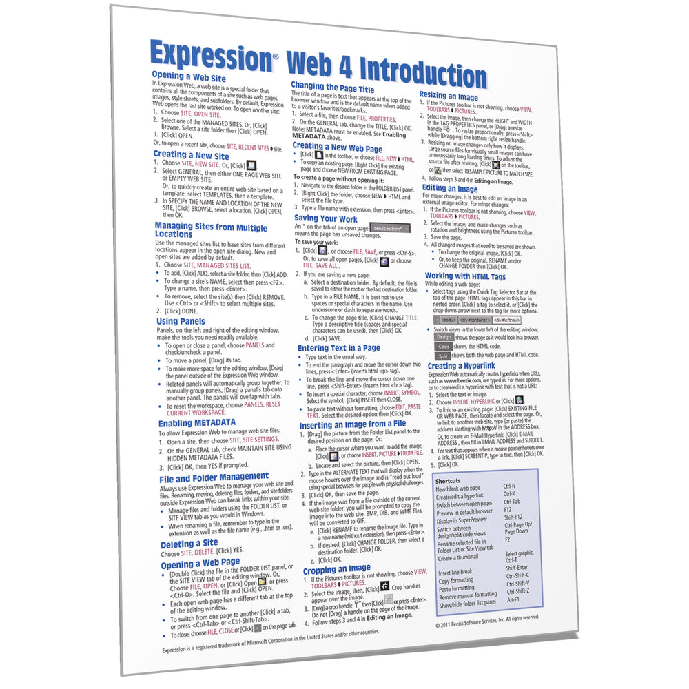 Expression Web 4 Introduction Quick Reference