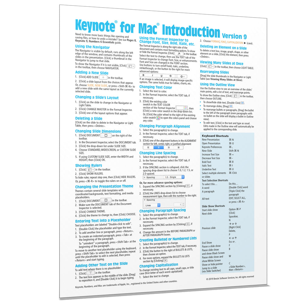 Keynote for Mac 9 Introduction Quick Reference