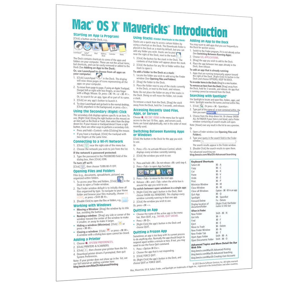 Mac OS X Mavericks Introduction Quick Reference