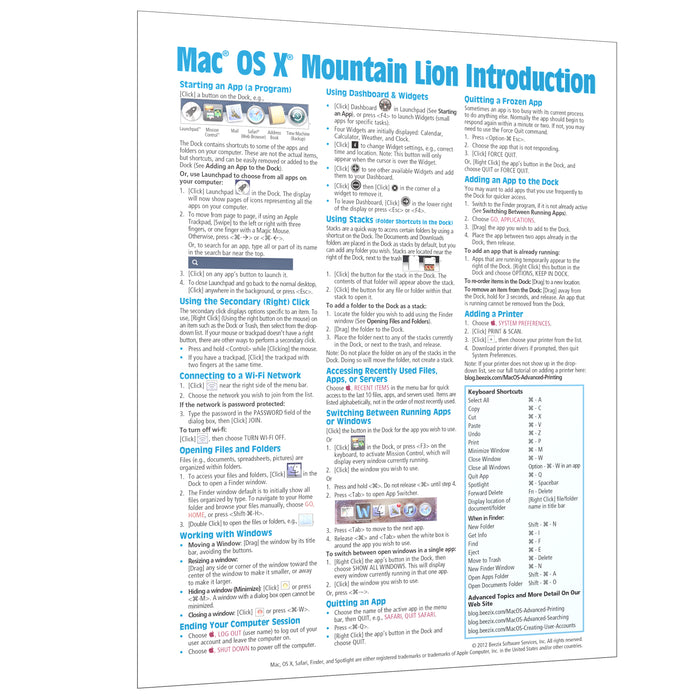 Mac OS X Mountain Lion Introduction Quick Reference