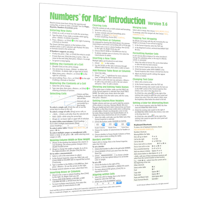 Numbers for Mac (ver. 3.6) Introduction Quick Reference