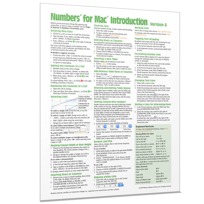 Numbers for Mac 6 Introduction Quick Reference