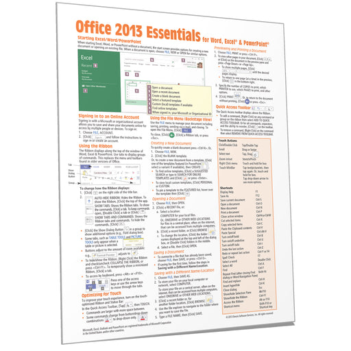 Office 2013 Essentials Quick Reference