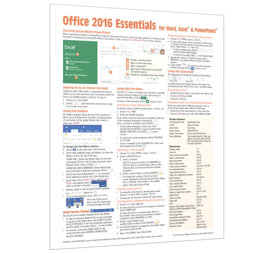 Office 2016 Essentials Quick Reference