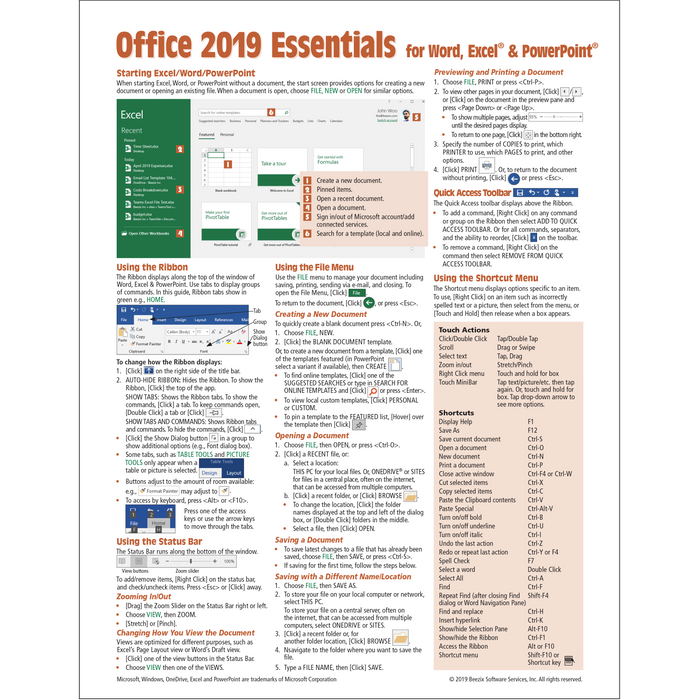 Office 2019 Essentials Quick Reference