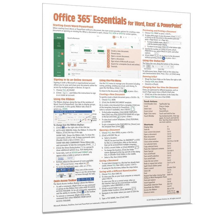 Office 365 Essentials Quick Reference