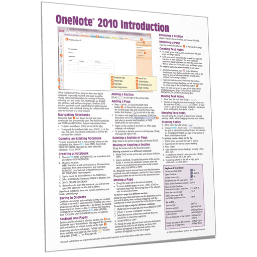 OneNote 2010 Introduction Quick Reference