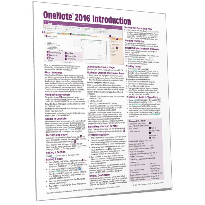 OneNote 2016 Introduction Quick Reference