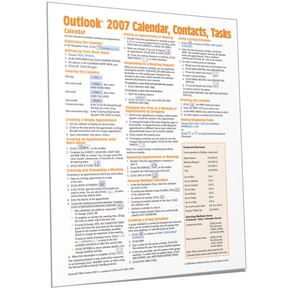 Outlook 2007 Calendar, Contacts, Tasks Quick Reference