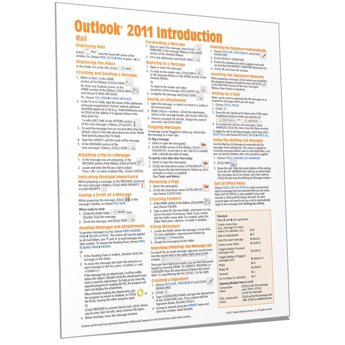 Outlook 2011  for Mac Introduction Quick Reference