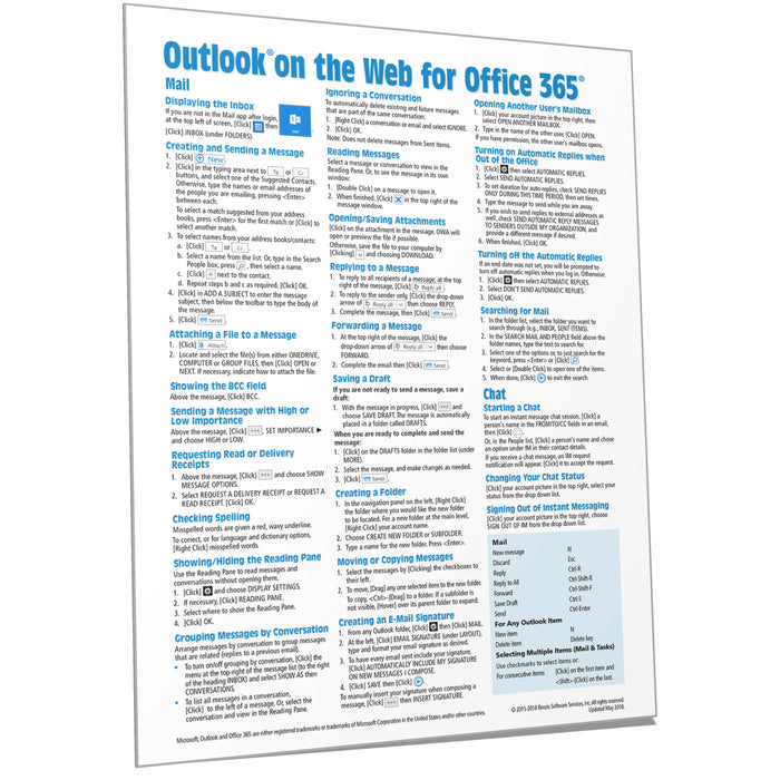 Outlook on the Web for Office 365 Quick Reference