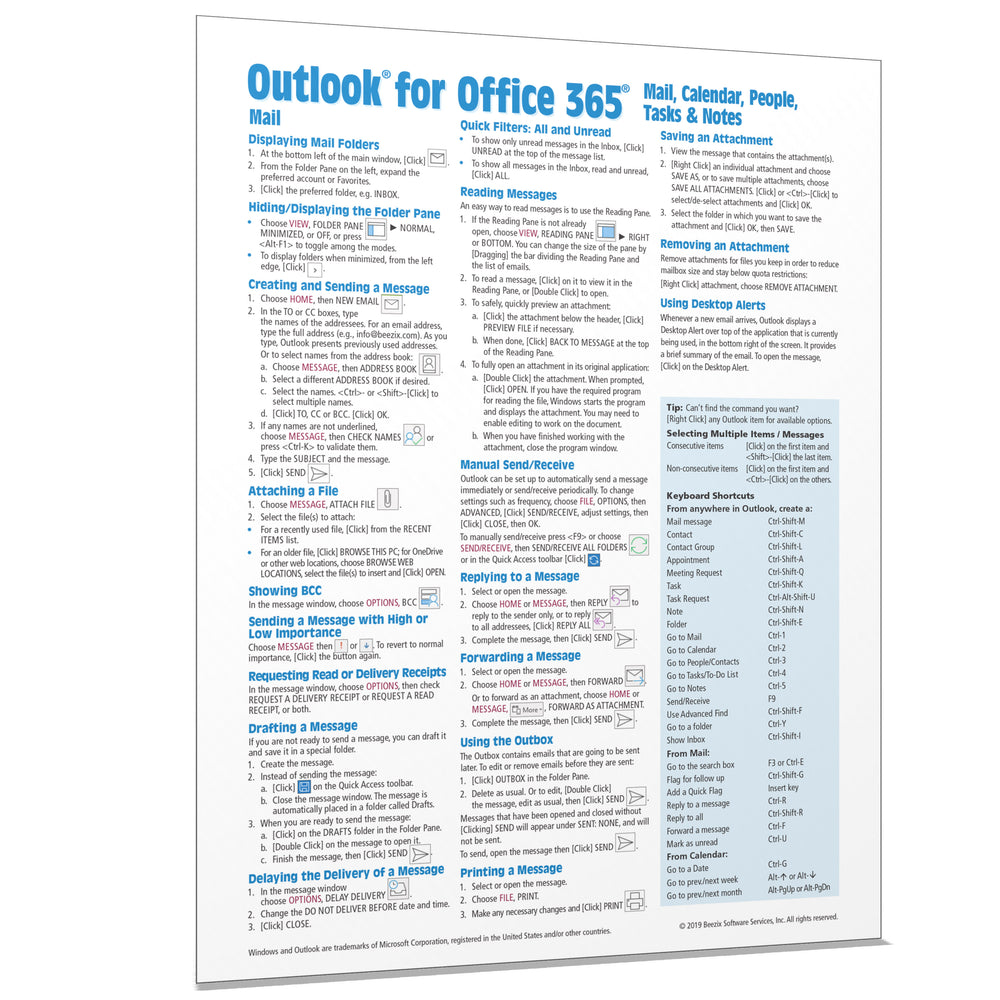 Outlook for Office 365 Mail, Calendar, People, Tasks, Notes Quick Reference