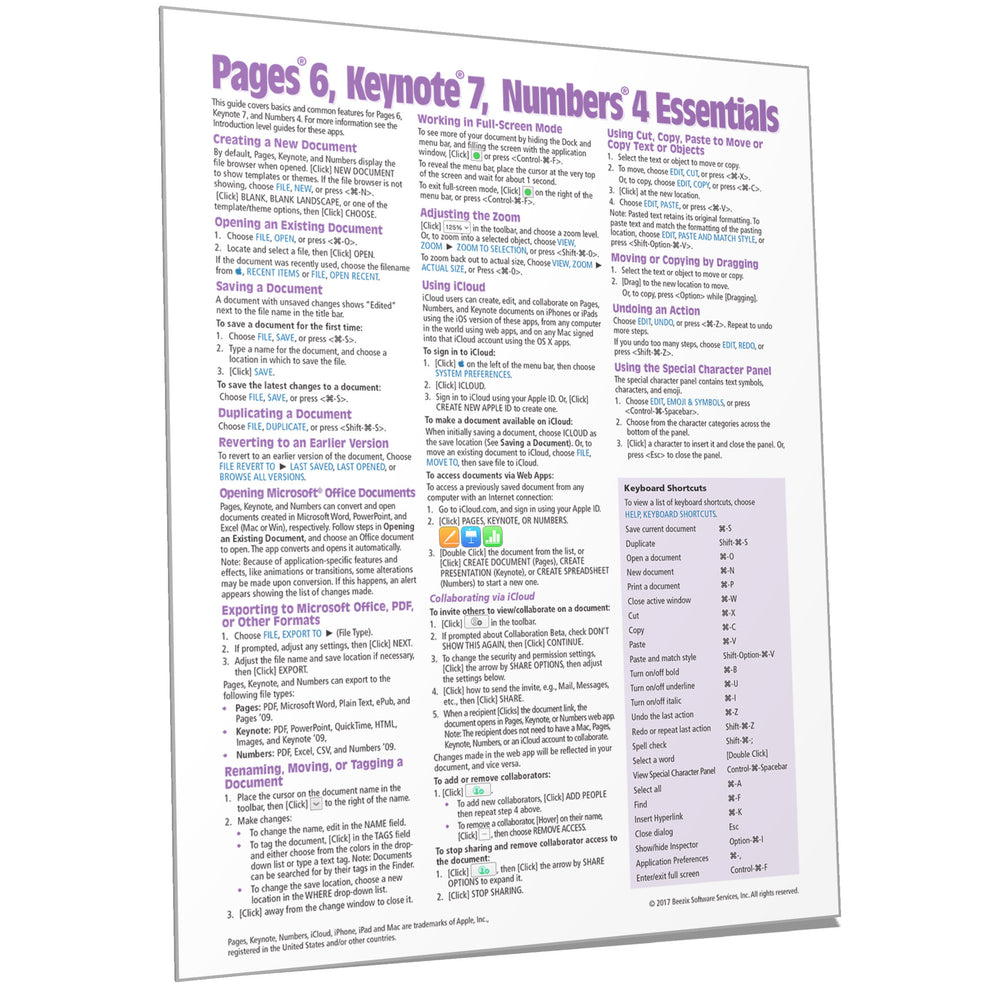 Pages 6, Keynote 7, Numbers 4 Essentials Quick Reference