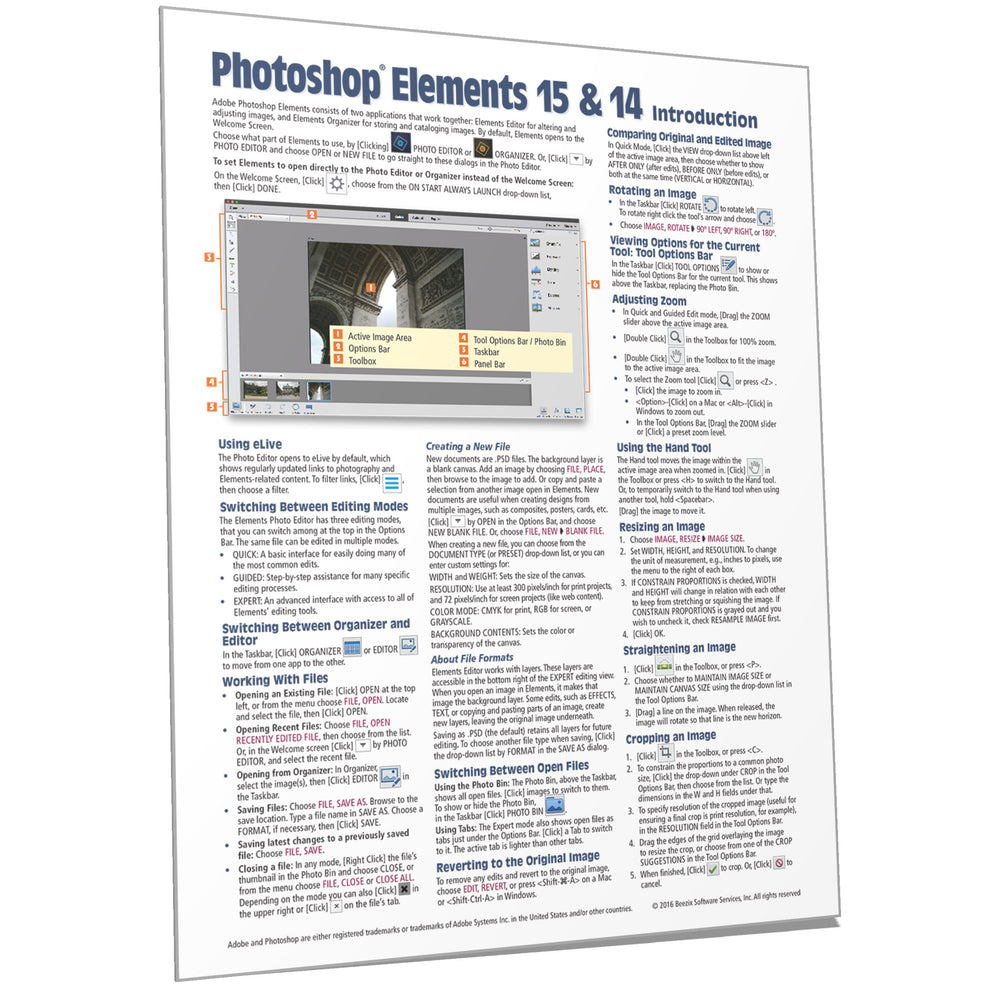 Adobe Photoshop Elements 15 (and 14) Introduction Quick Ref