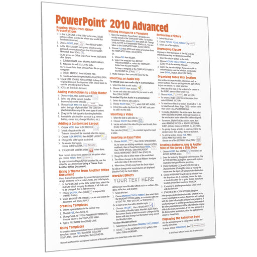 PowerPoint 2010 Advanced Quick Reference