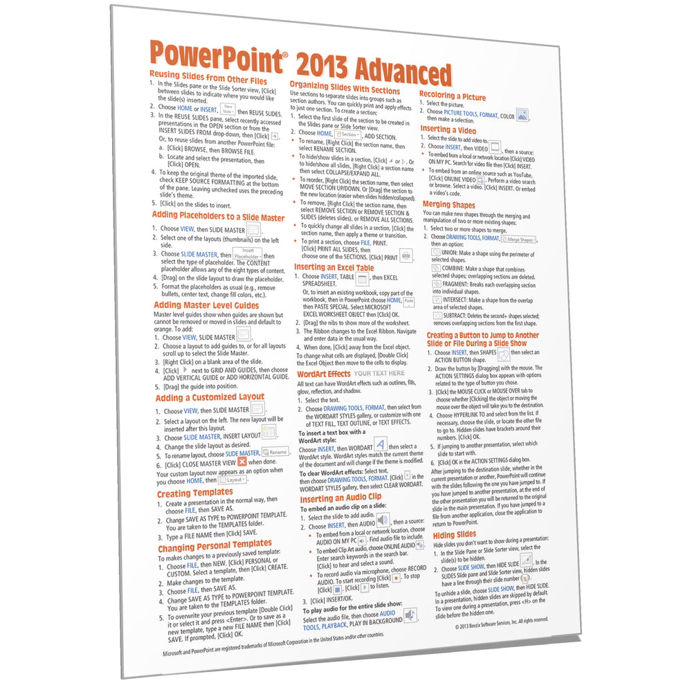 PowerPoint 2013 Advanced Quick Reference