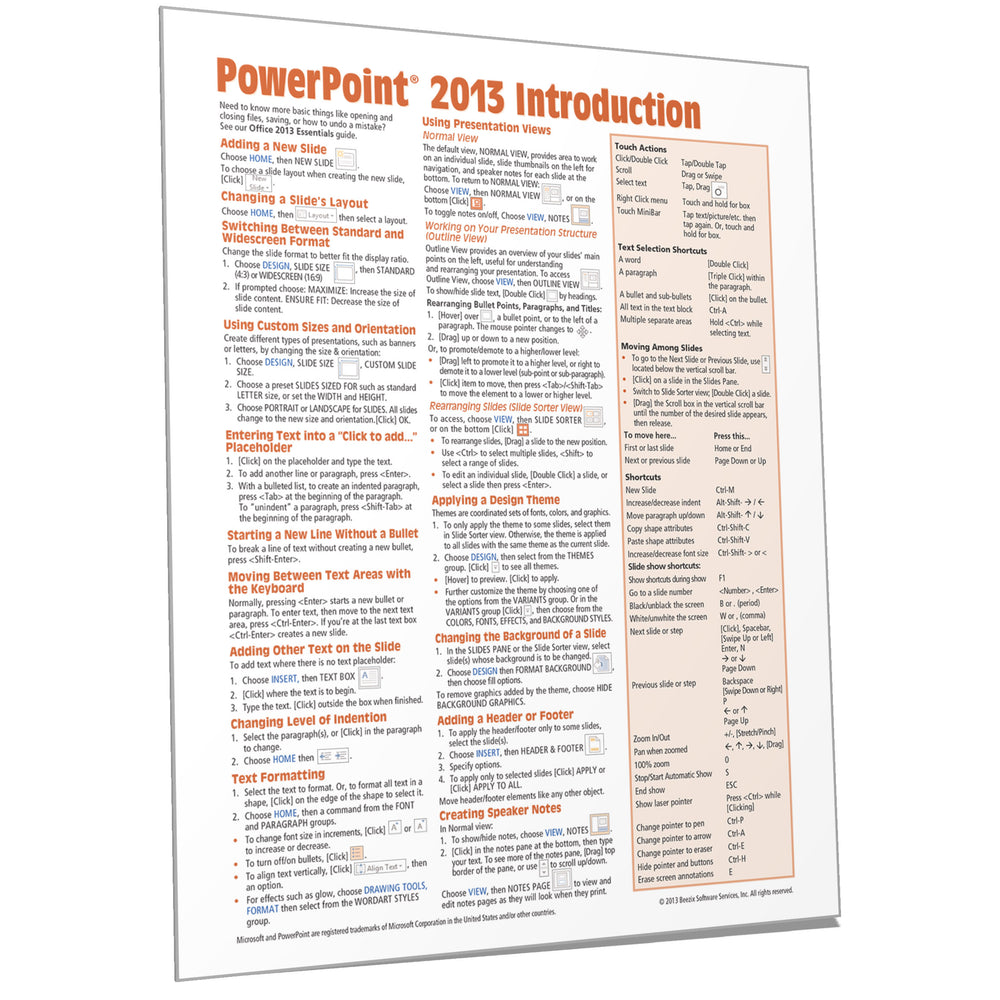 PowerPoint 2013 Introduction Quick Reference