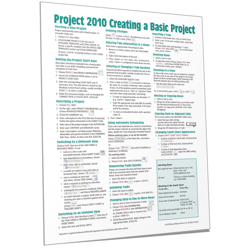 Project 2010 Creating a Basic Project Quick Reference
