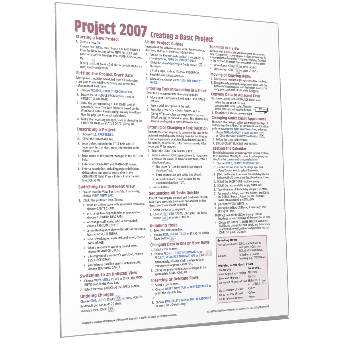 Microsoft Project 2007 Quick Reference, Cheat Sheet Card