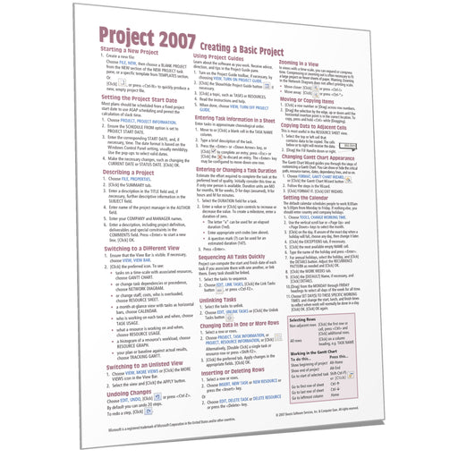Project 2007 Creating a Basic Project Quick Reference