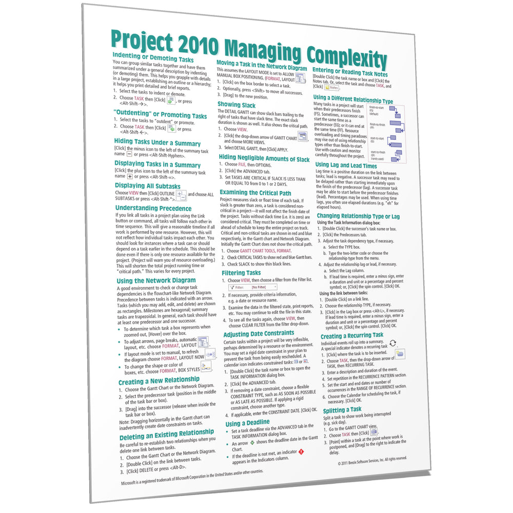 Project 2010 Managing Complexity Quick Reference