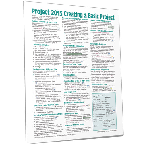 Project 2013 Creating a Basic Project Quick Reference