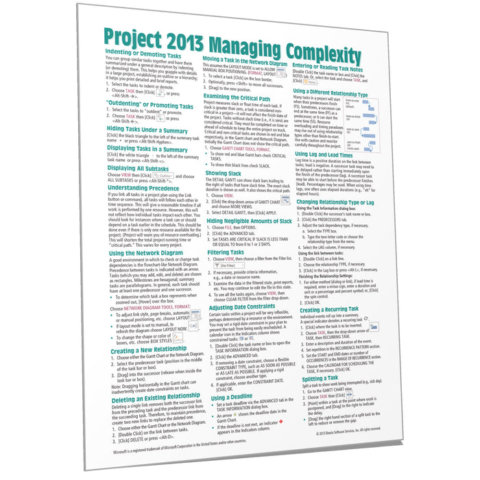 Project 2013 Managing Complexity Quick Reference