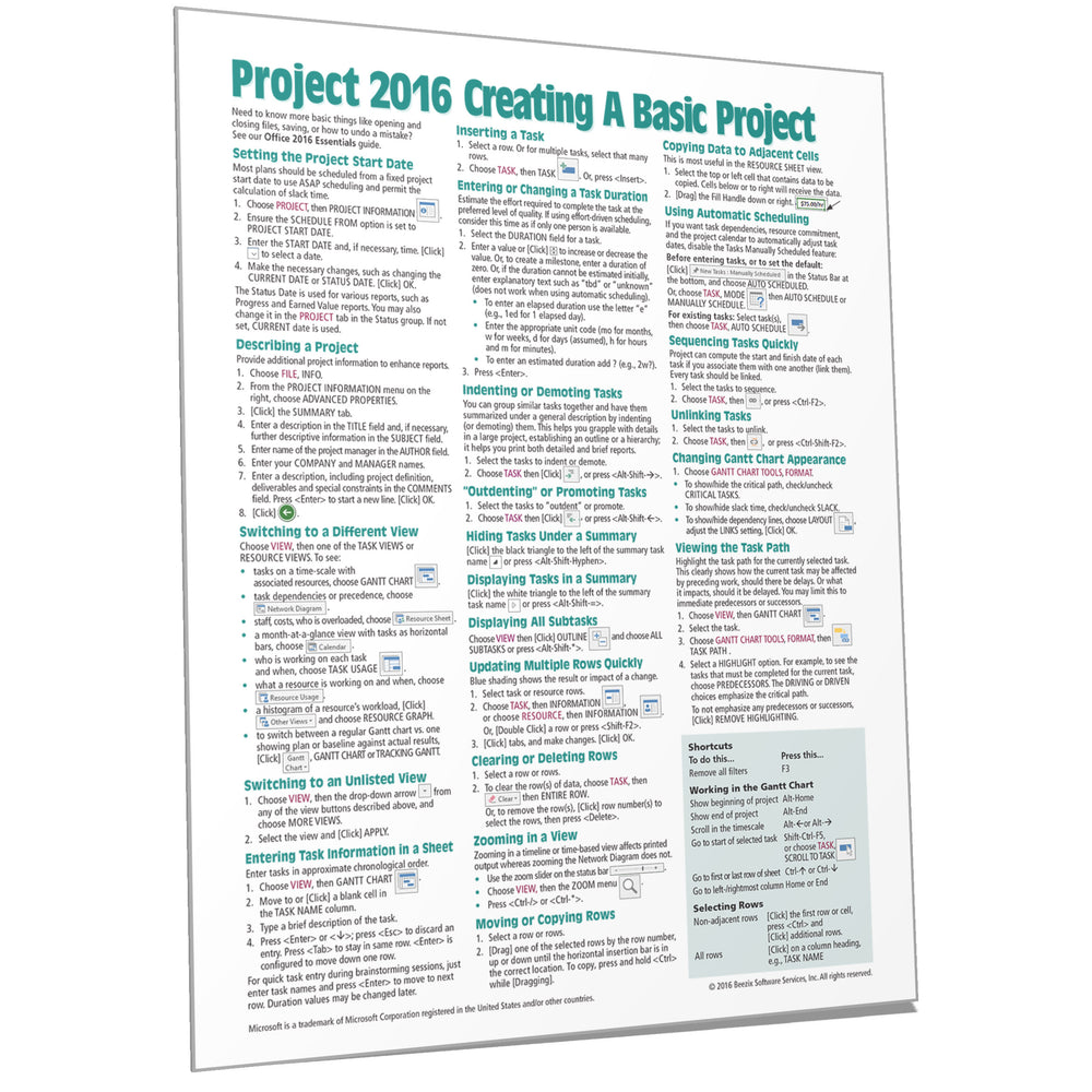 Project 2016 Creating a Basic Project Quick Reference