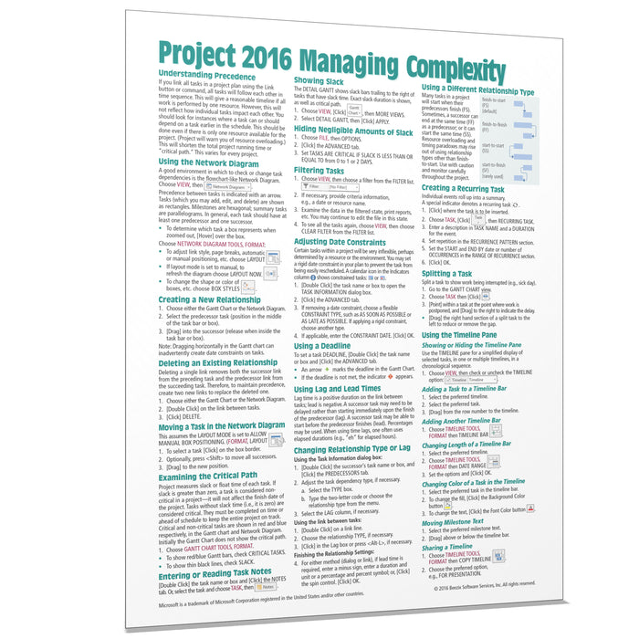 Project 2016 Managing Complexity Quick Reference