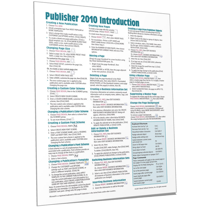 Publisher 2010 Introduction Quick Reference