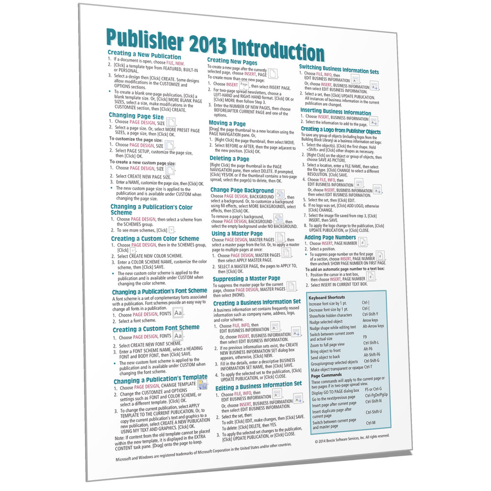 Publisher 2013 Introduction Quick Reference