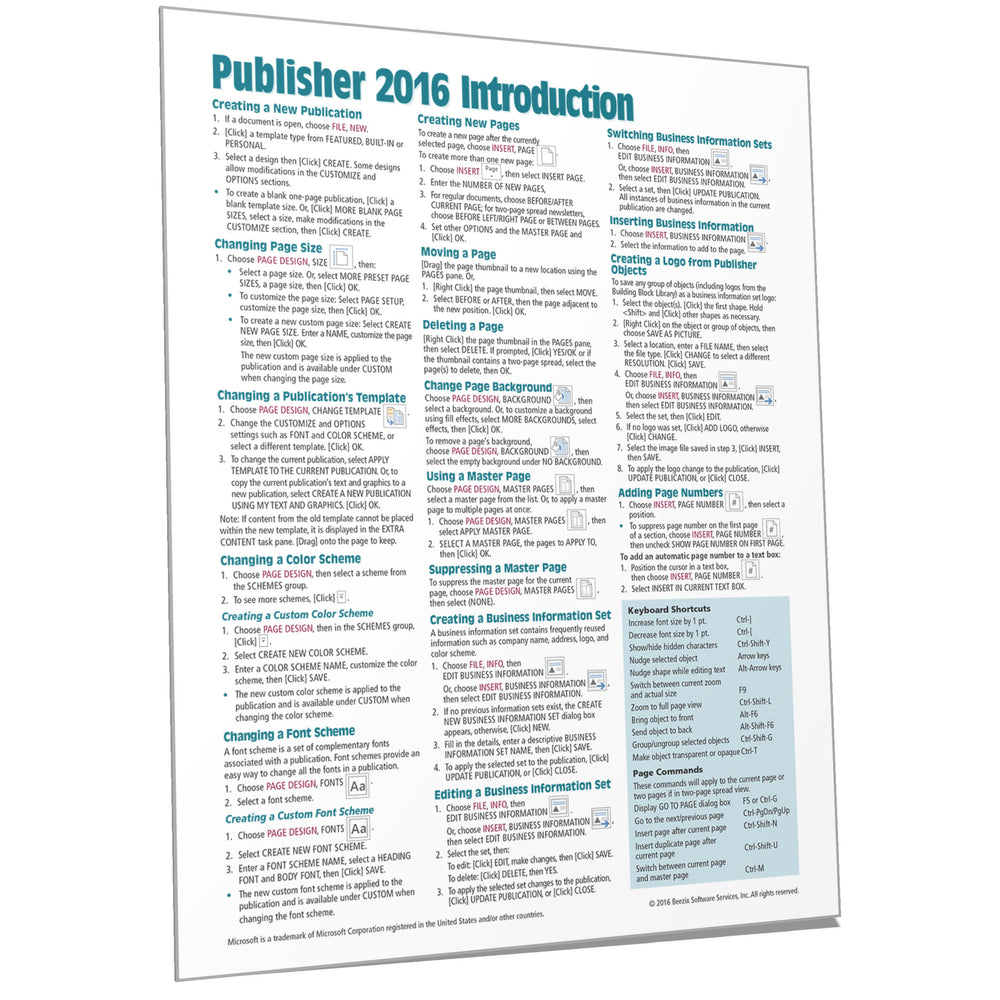 Publisher 2016 Introduction Quick Reference