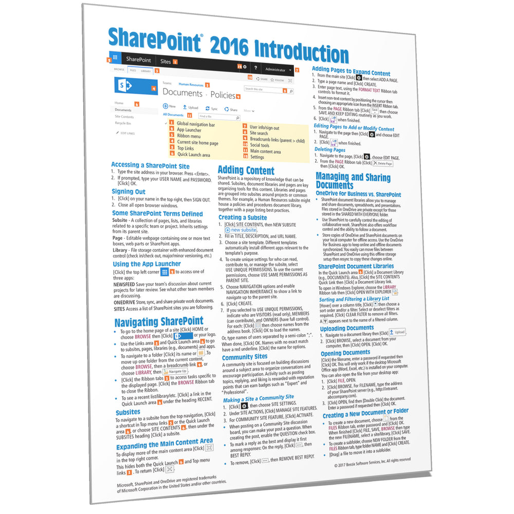SharePoint 2016 Introduction Quick Reference