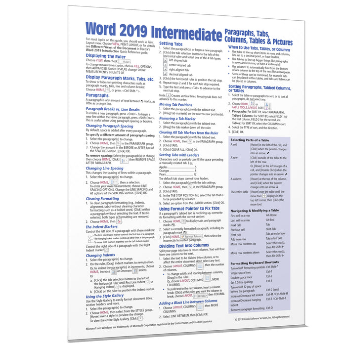 Word 2019 Intermediate: Paragraphs, Tabs, Columns, Tables, Pictures