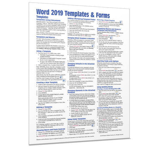 Word 2019 Templates & Forms Quick Reference