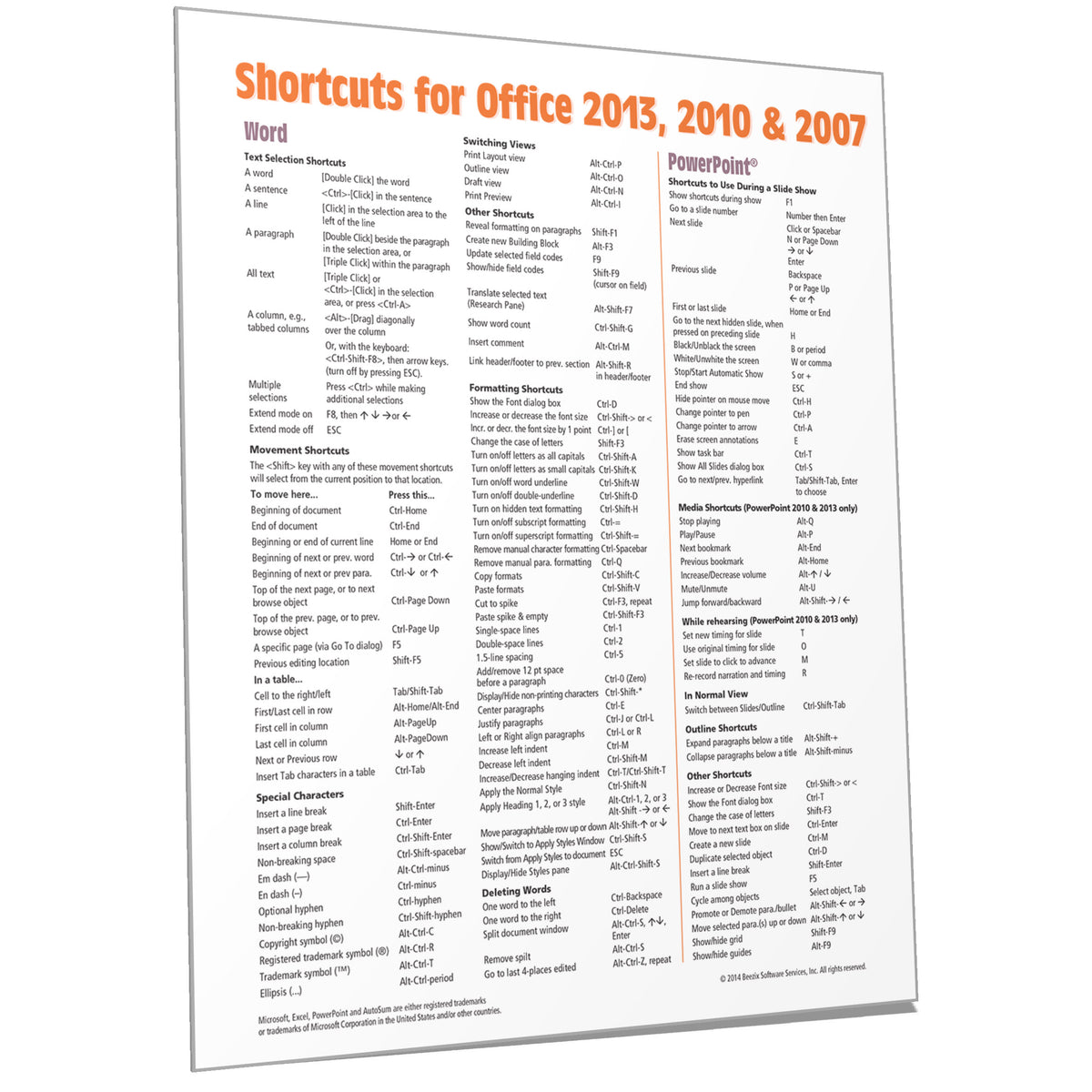 Office 2013 Shortcuts Quick Reference Card Cheat Sheet