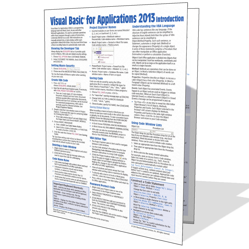 Visual Basic for Applications (VBA) 2013 Quick Reference