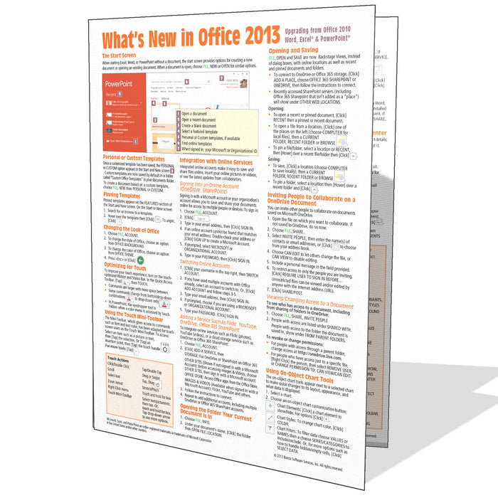 What's New in Office 2013 Quick Reference (from 2010)