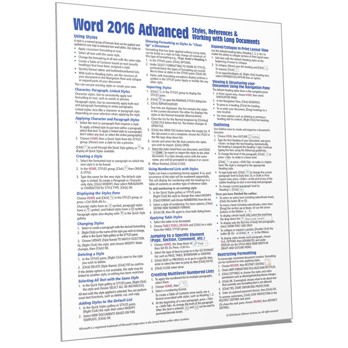 Word 2016 Advanced Quick Reference